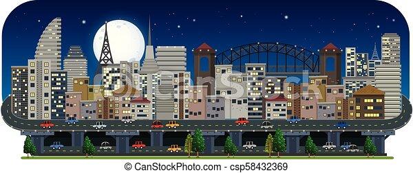 都市, 夜, 光景, パノラマである - csp58432369
