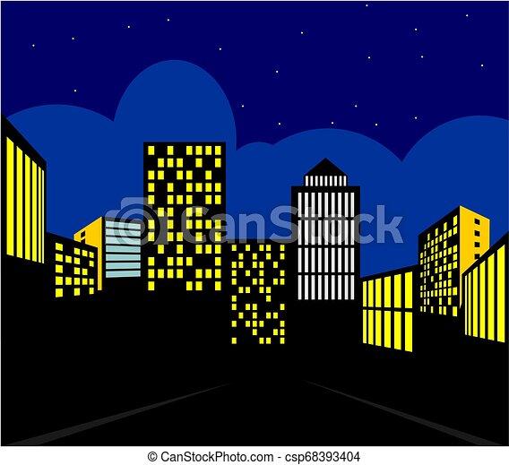 都市, 夜, 光景 - csp68393404
