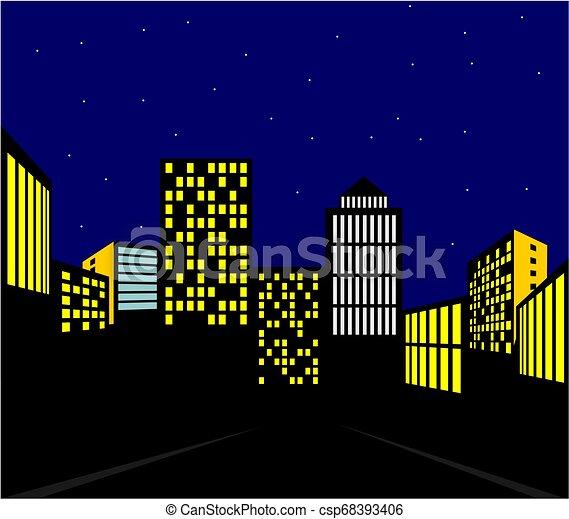 都市, 夜, 光景 - csp68393406