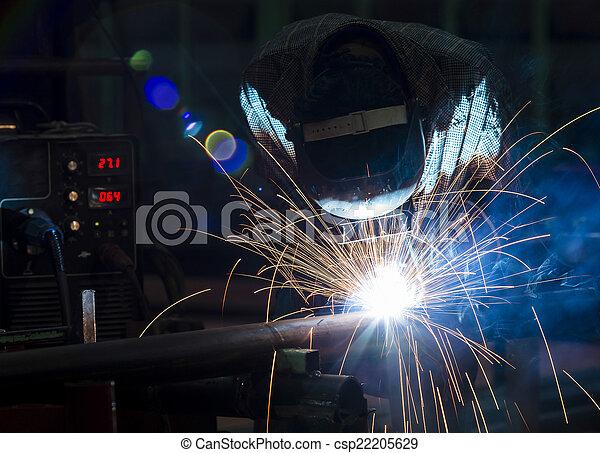 金属, 保護である, 労働者, マスク, 溶接 - csp22205629