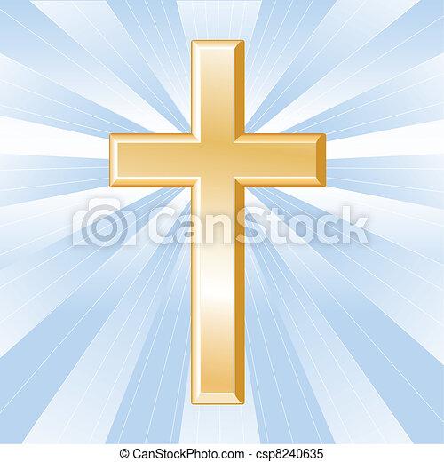 金, キリスト教, 交差点, シンボル - csp8240635