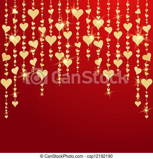 金, バレンタイン, 掛かること, 心, 日, カード - csp12192190