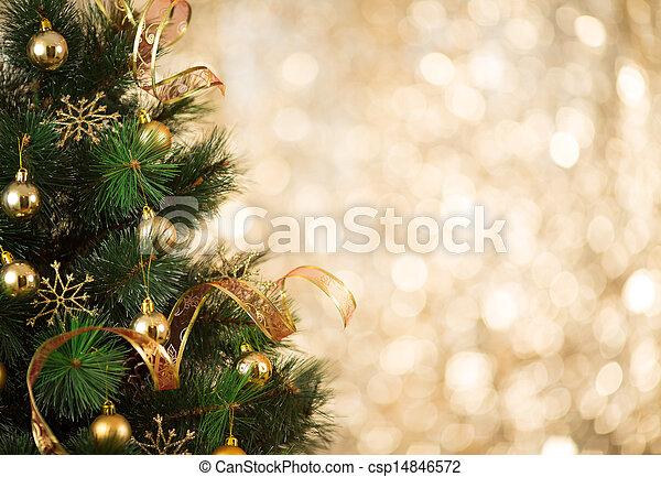 金, 木は つく, 焦点がぼけている, 背景, 飾られる, クリスマス - csp14846572