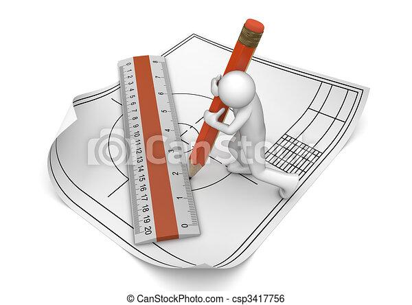 鉛筆, エンジニア, 図画, 定規 - csp3417756