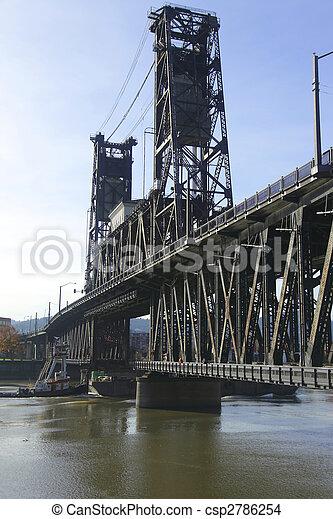鋼鉄, 橋, 渡ること, barge., & - csp2786254