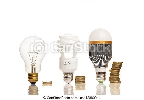 電球, 別, タイプ, ライト - csp12880944