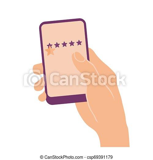 電話, 星, 痛みなさい, 手を持つ - csp69391179
