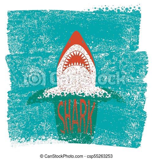 青い背景, 海, 波, ベクトル, jaws., サメ - csp55263253