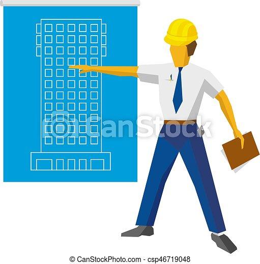 青写真, ヘルメット, ショー, 建築者, プロジェクト, エンジニア - csp46719048