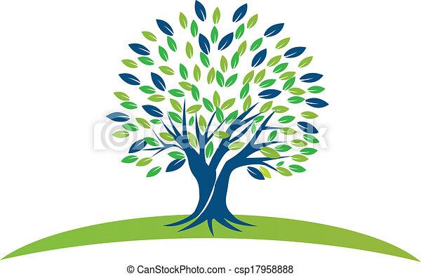 青緑, 木, leafs, ロゴ - csp17958888