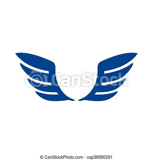 青, スタイル, 単純である, アイコン, 対, 翼 - csp36580291