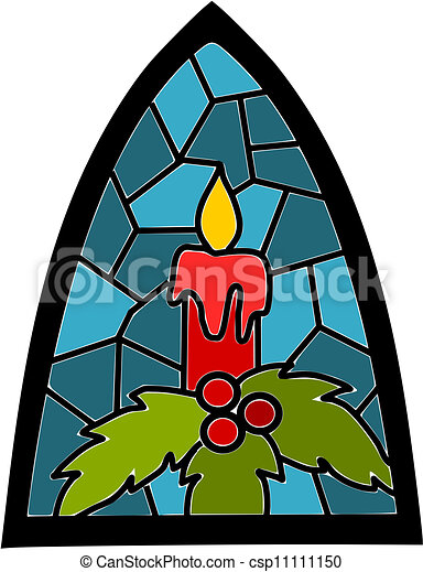 青, time., クリスマス, ろうそく, 窓, ステンドグラス - csp11111150