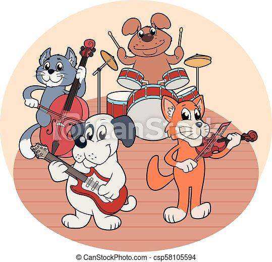 音楽, 動物, 四つ組, 遊び - csp58105594