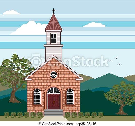 風景, 教会, れんが - csp35136446