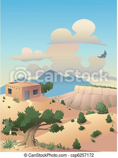 風景, 砂漠, イラスト - csp6257172