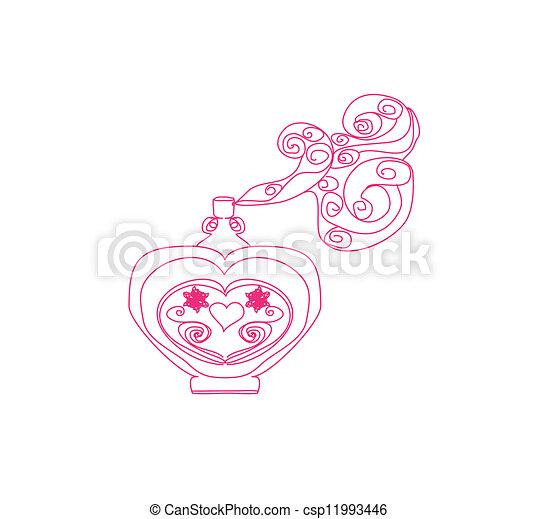 香水のビン, 香り, 花 - csp11993446