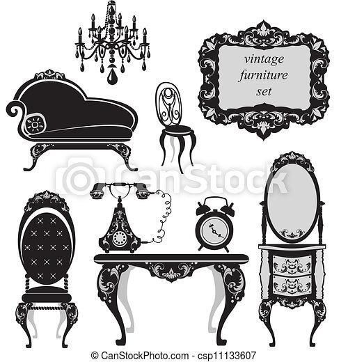 骨董品, セット, 家具 - csp11133607