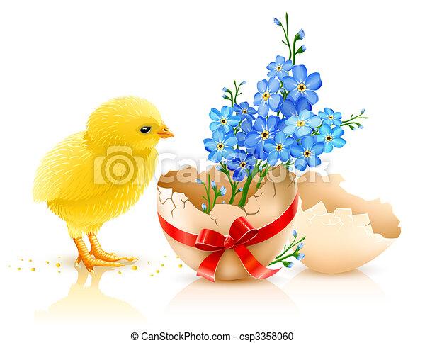 鶏, 休日, イースター, イラスト - csp3358060