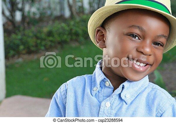 黒, 若い少年, 流行, 帽子, ウエア - csp23288594