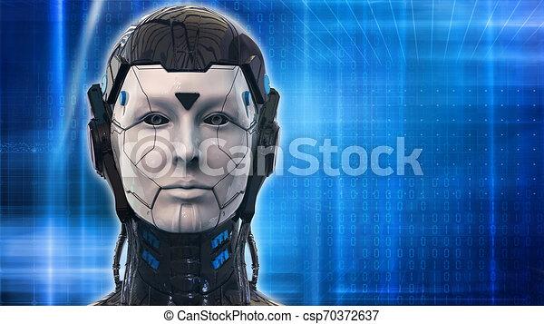 -, 背景, ロボット, 3d, 技術, レンダリング, 女, 壁紙 - csp70372637
