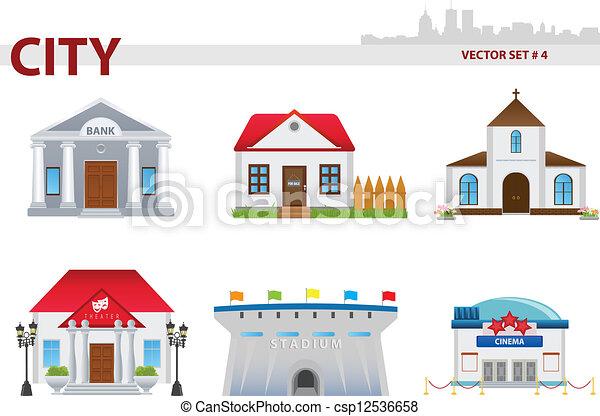 4., 建物。, 公衆, セット - csp12536658
