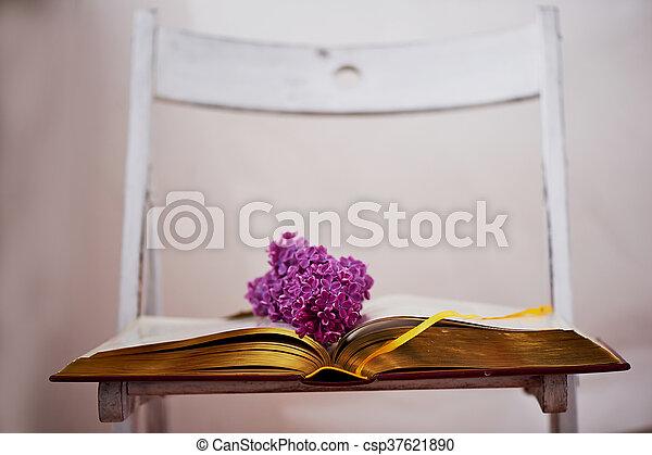 comprehensive, 本, ページ, ライラック - csp37621890