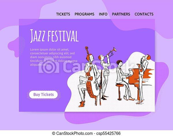concert., poster., 祝祭, ジャズ, ヘッダー, 四つ組, サイト, ベクトル, 音楽, テンプレート, デザイン, 旗, ∥あるいは∥, illutration - csp55425766
