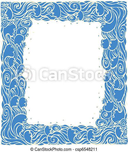 decoration., 青い背景, 波, 海洋, ベクトル, グラフィック, フレーム - csp6548211