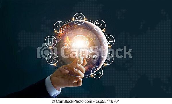 development., ショー, エネルギー, 世界的である, nasa., 源, エコロジー, 消費, アイコン, concept., 供給される, 世界, 保有物, イメージ, 要素, 手, 前部, 電球, 回復可能, これ, ライト, 支持できる - csp55446701