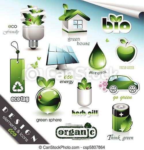 eco, 要素, アイコン, デザイン - csp5807864