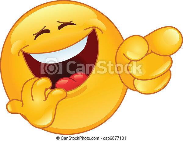 emoticon, 笑い, 指すこと - csp6877101