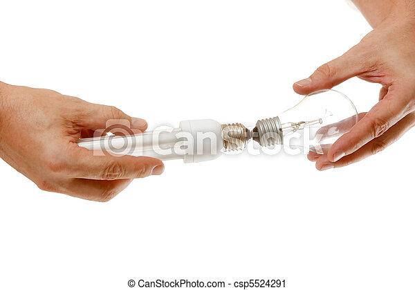 energy-saving, 白熱電球, 手 - csp5524291
