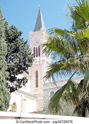 franciscan, タワー, 時計, 教会, jaffa, 2011 - csp34729376
