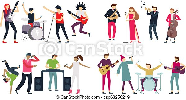 guitarist, 歌手, セット, 音楽家, indie, パンクロック, ジャズ, bands., 金属, ポンとはじけなさい, 隔離された, ベクトル, band., コツコツという音, ブルース, 音楽, ドラマー - csp63250219