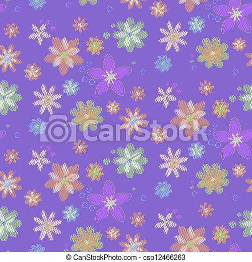 hand-drawn, 花, seamless, 背景 - csp12466263