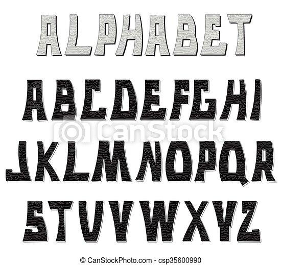 letters., abc, 装飾用である, textured, alphabet. - csp35600990