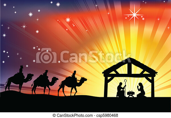 nativity, キリスト教徒, クリスマス場面 - csp5980468