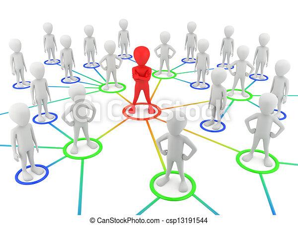 network., パートナー, 人々, -, 小さい, 3d - csp13191544
