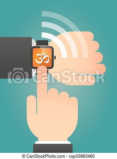 om, 指すこと, 腕時計, 印, 手, 痛みなさい - csp33983460