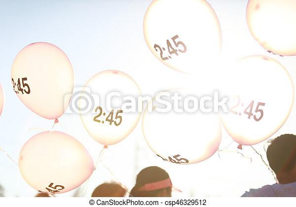 pacer, balloon, シンボル, 動くこと, マラソン - csp46329512