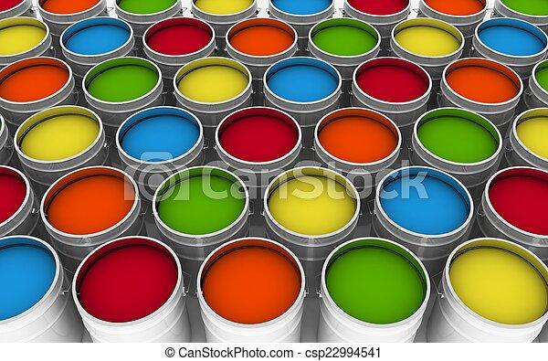 paint., バケツ, 開いた, イラスト, 3d - csp22994541