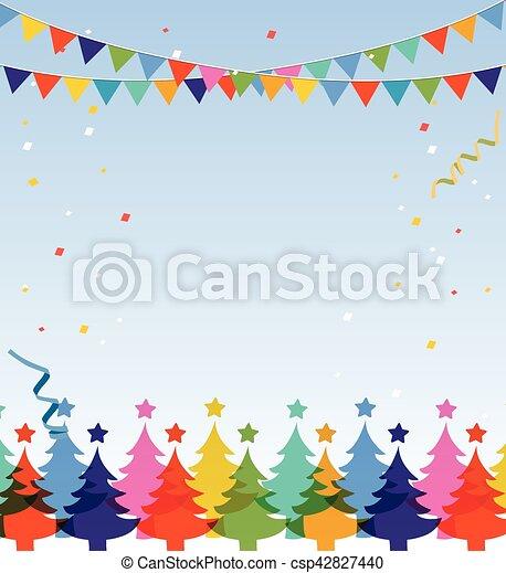 postcard., 陽気, 年, 新しい, クリスマス, 幸せ - csp42827440