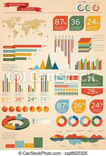 set., レトロ, infographics - csp8625325