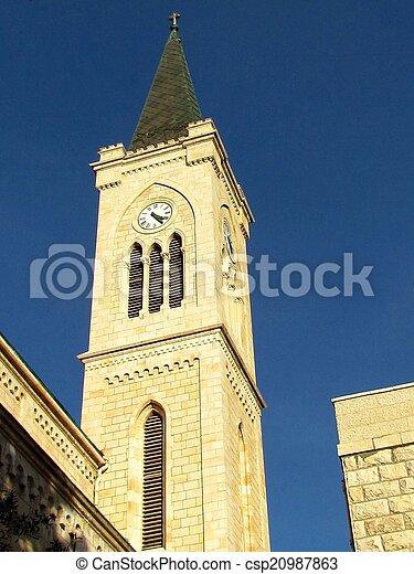 st. 。, franciscan, タワー, 教会, jaffa, アンソニー, 2011 - csp20987863