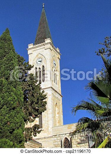 st. 。, franciscan, タワー, 教会, jaffa, アンソニー, 2011 - csp21196170