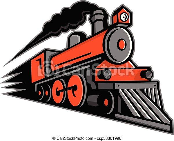 steam-locomotive-speeding-side-frnt-mascot - csp58301996