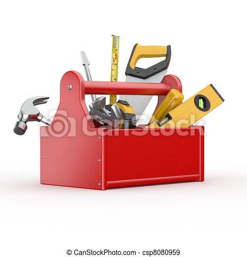 tools., ハンマー, レンチ, skrewdriver, 道具箱, handsaw - csp8080959