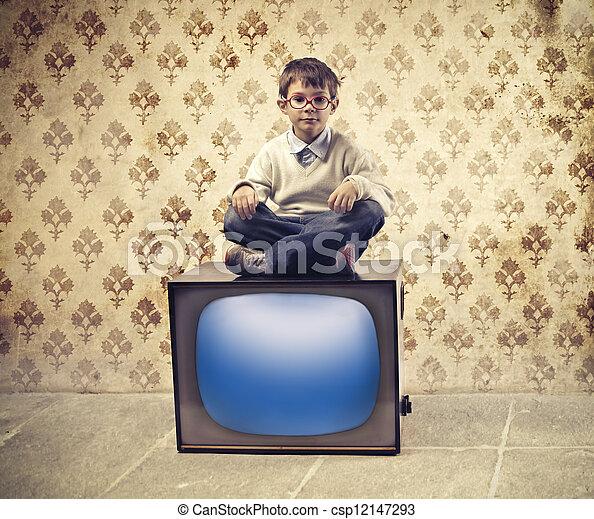 tv, 子供 - csp12147293