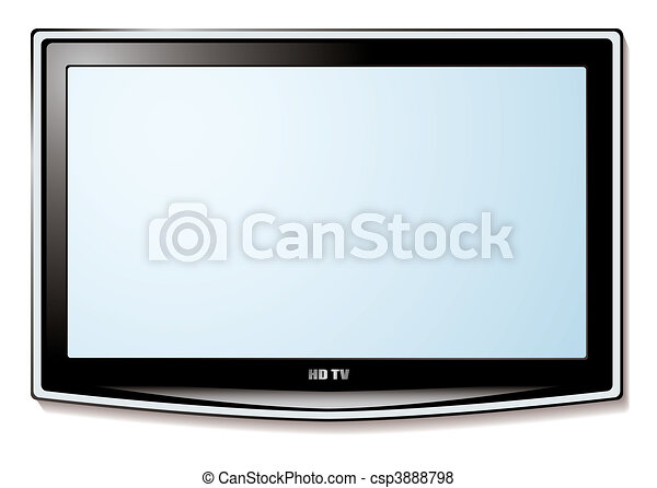 tv, lcd, 白いスクリーン - csp3888798