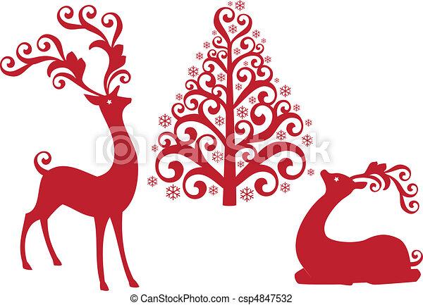 vecto, 木, トナカイ, クリスマス - csp4847532